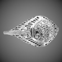 14k White Gold Filigree Illusion Diamond Ring circa 1920's