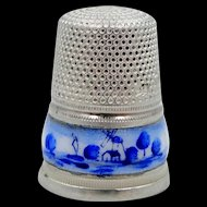 Vintage Delft Enamel Band 935 Sterling Thimble