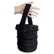 1930's Black Seed Beads Round Boxy Purse Mourning? Now Goth!