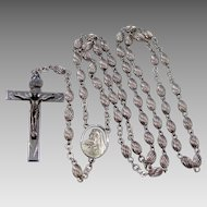 Vintage Sterling Silver Rosary with Ribbed Beads