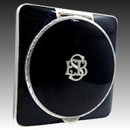 Art Deco Sterling Silver & Black Enamel Compact Made in Austria