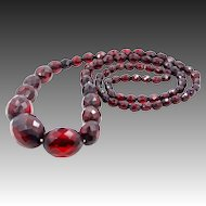 Art Deco Faceted Cherry Amber Bakelite Necklace Large Beads