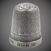 W.M.Crouch Swansea Sterling Silver Thimble