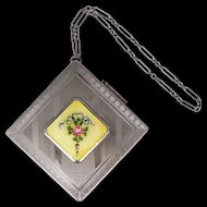 1920s Guilloche Enamel Flower Chatelaine Compact