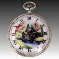 Vintage Hand Painted Porcelain Dial Pocket Watch