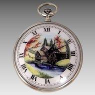 Vintage Hand Painted Porcelain Dial Pocket Watch