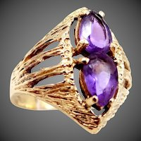 14k Gold Ring With 2 Pear Shaped Amethysts