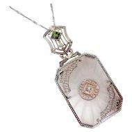 14k White Gold Diamond & Peridot Camphor Glass Necklace
