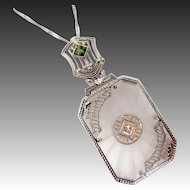 14k White Gold Diamond & Peridot Camphor Glass Necklace
