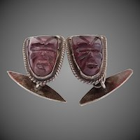 Vintage Mexico Sterling Obsidian Face Mask Amethyst Colored Glass Cufflinks