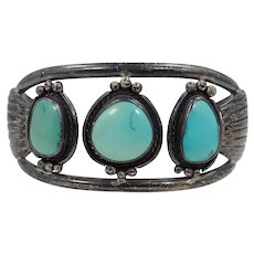 BIG Scott Dave Navajo Sterling and Turquoise Cuff Bracelet