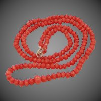 Vintage Natural Coral 14k Gold Necklace