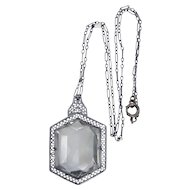 1920's Edwardian Rhodium & Faceted Glass Filigree Necklace w/Original Paperclip Chain