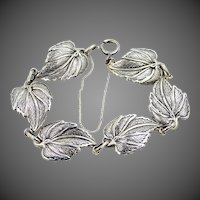 Vintage Danecraft Sterling Silver Leaves Bracelet