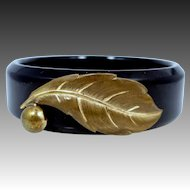 Vintage Black Bakelite Bangle Bracelet with Metal Accents