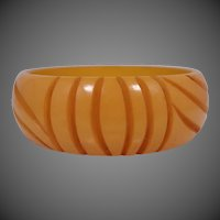 Wide Carved Butterscotch Bakelite Bangle Bracelet