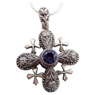 900 Silver Jerusalem Cross with Sapphire on Sterling Chain