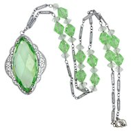 1920s Rhodium Plated Peridot Green Crystals Filigree Necklace