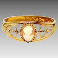 Vintage Shell Cameo Gold Filled Bangle Bracelet