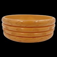 "Wide Carved ""Stacked"" Butterscotch Bakelite Bangle Bracelet"