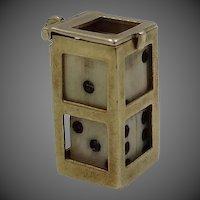 14k Gold Carved Bone Dice Charm w/Case