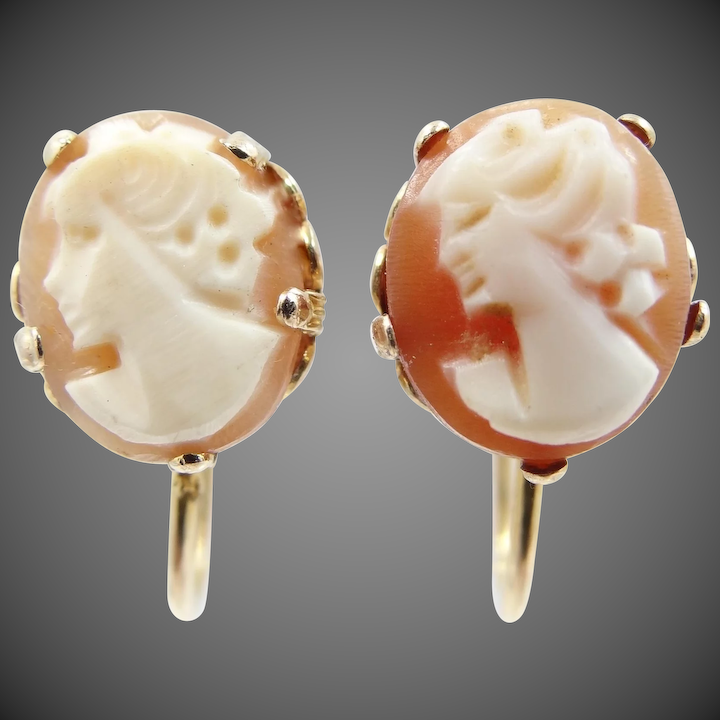 308cccc7b 10k Gold 1920's Carved Shell Cameo Screw Back Earrings : Mur-Sadie's  Jewelry | Ruby Lane