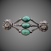 Very Old Indian Chief Brooch with Imitation Turquoise