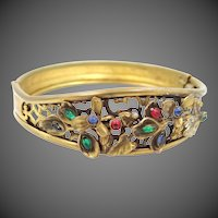"1920s Coro ""Jeweled"" Filigree Bangle Bracelet"