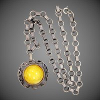 Lemon Yellow Peking Glass Art Deco Necklace