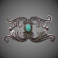 980 Taxco Turquoise Southwestern Style Pin Circa 1930's