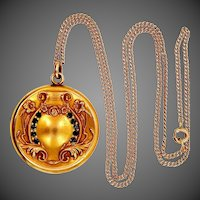 Nouveau Gold Filled Locket with Crystals and Original Chain