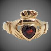 Claddagh 10k Gold & Heart Shaped Garnet Ring