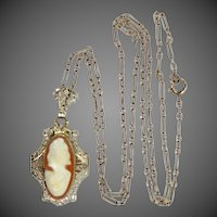Art Deco 14k White Gold Filigree Cameo Necklace