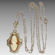 Art Deco 14k White Gold Filigree Cameo Necklace
