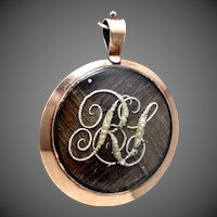 Georgian 10K Gold Hairwork 2 Sided Locket / Pendant with Seed Pearls forming Monograms