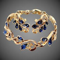 1950s Trifari Bracelet and Earrings with Sapphire Colored Glass