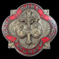 """Antique Red Enamel """"Jesus, Mary, Joseph Be With Us On Our Way"""" Medal"""