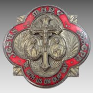 "Antique Red Enamel ""Jesus, Mary, Joseph Be With Us On Our Way"" Medal"