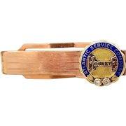 Retro Rose Gold Fld. and 10k Gold and Diamonds Atlantic Service Co. Hookeye Bar Pin