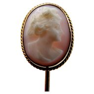 10k Gold Victorian Coral Carved Cameo Stick Pin Stickpin