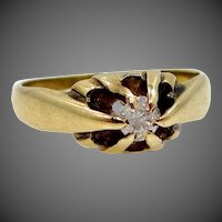 Early 1900's 14k Gold Gypsy Style Diamond Solitaire Ring