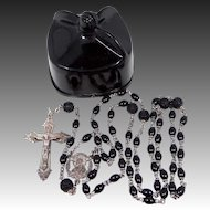 Vintage Black Sterling Rosary in Biretta Case