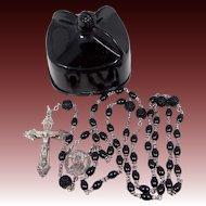 Vintage Black Sterling Rosary in Biretta Case
