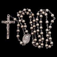 Vintage Sterling Silver Rosary 100% Sterling
