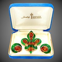 1960s Trifari Enamel L'Orient Fleur deLis Pin & Matching Earrings with Box
