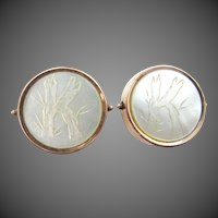 "1879 Carved Mother of Pearl Cuff Links with the Letter ""K"""