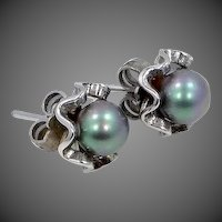 Sterling Silver Faux Lavender / Green Pearl Pierced Earrings