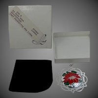 1987 Sterling Silver and Enamel LUNT Poinsettia Pendant / Christmas Ornament MIB