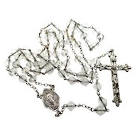 Vintage Sterling Silver and Multi Faceted Crystals Religious Rosary