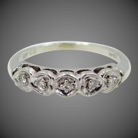 14k White Gold and Diamond Stacking Ring with Tiny Hearts